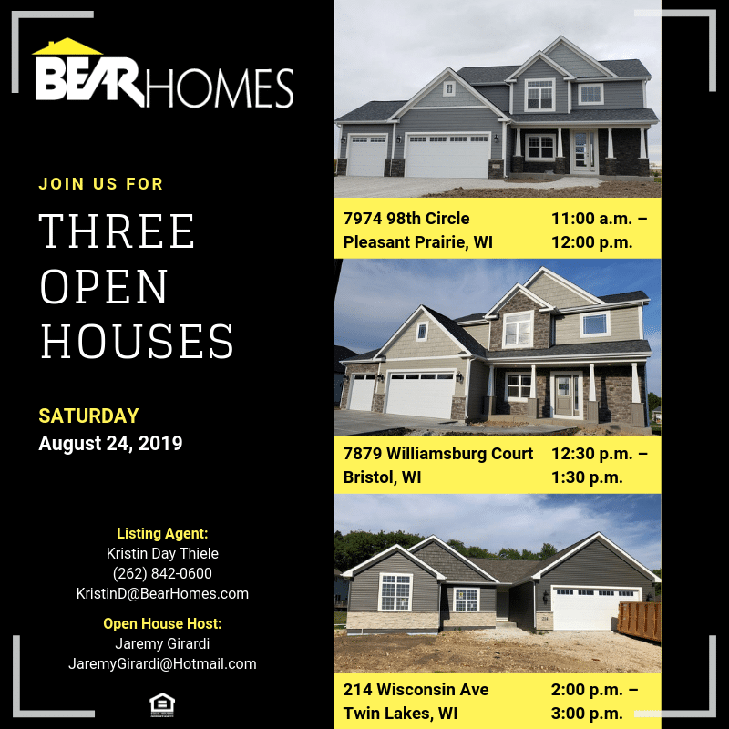 new homes, for sale, open houses, bristol, pleasant prairie, twin lakes